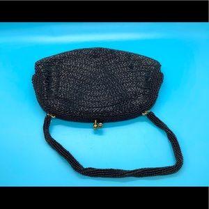Vintage Beaded Black Clutch
